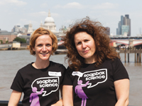 Seirian (left) and Nathalie (right), founders of Soapbox Science