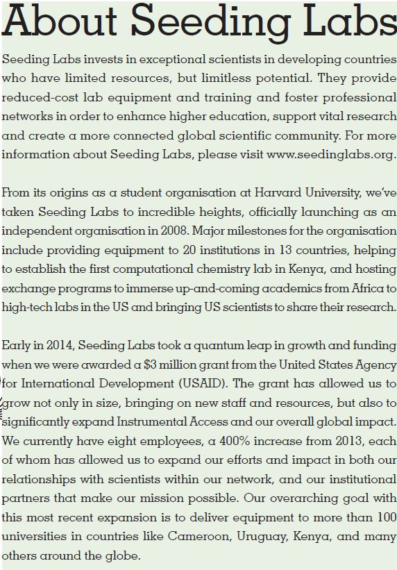 Seeding Labs about