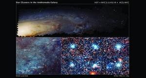 A Hubble mosaic of Andromeda galaxy. On the bottom left is an enlargement of the top image which reveals myriad stars and numerous open star clusters spanning 4,400 light-years across. On the bottom right are six bright blue clusters where each cluster square is 150 light-years across.